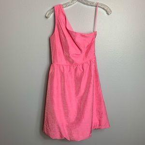 LINEN BLEND PINK J. CREW ONE SHOULDER DRESS 2